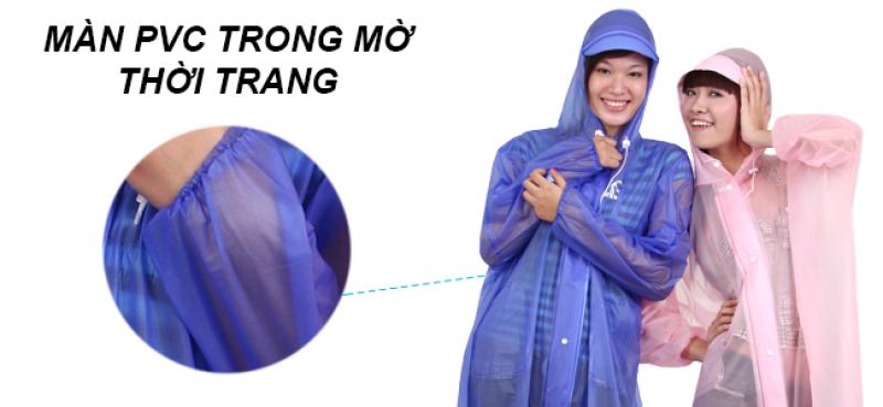 chất liệu pvc trong mờ áo mưa dây kéo trong màu RANDO