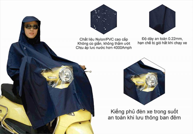 áo mưa cao cấp poncho vải best có kiếng RANDO