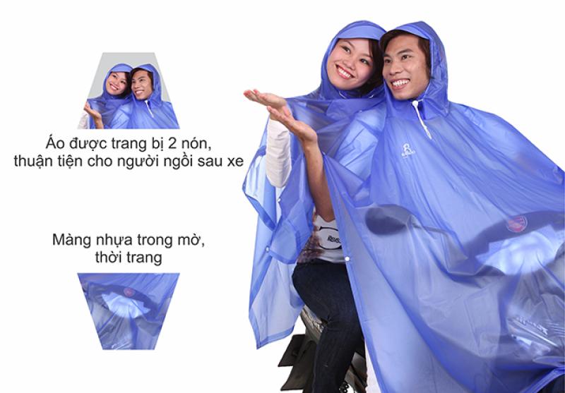 chất liệu pvc trong mờ áo mưa 2 trong màu nón RANDO