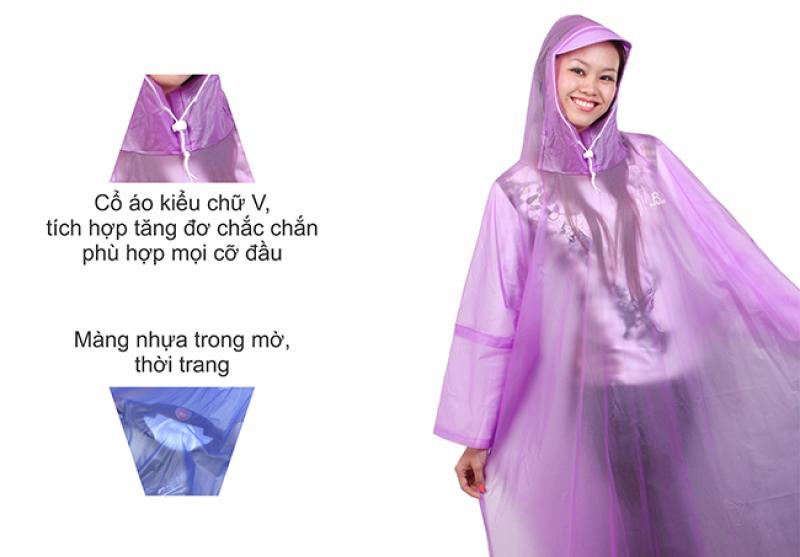 chất liệu pvc trong mờ áo mưa cổ rùa trong màu RANDO