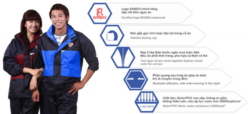 bộ áo mưa đa năng 2 công dụng RB8 RANDO