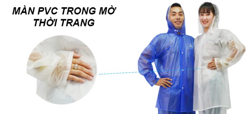 Chắt liệu PVC bộ áo mưa trong màu RANDO