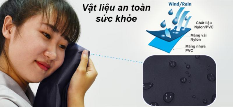 Chất liệu Nylon/PVC xanh đen 1 - áo mưa RANDO