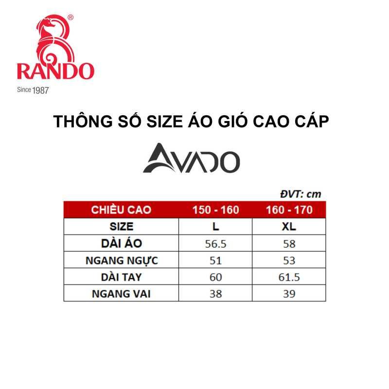 Size áo gió cao cấp nữ AVADO - RANDO