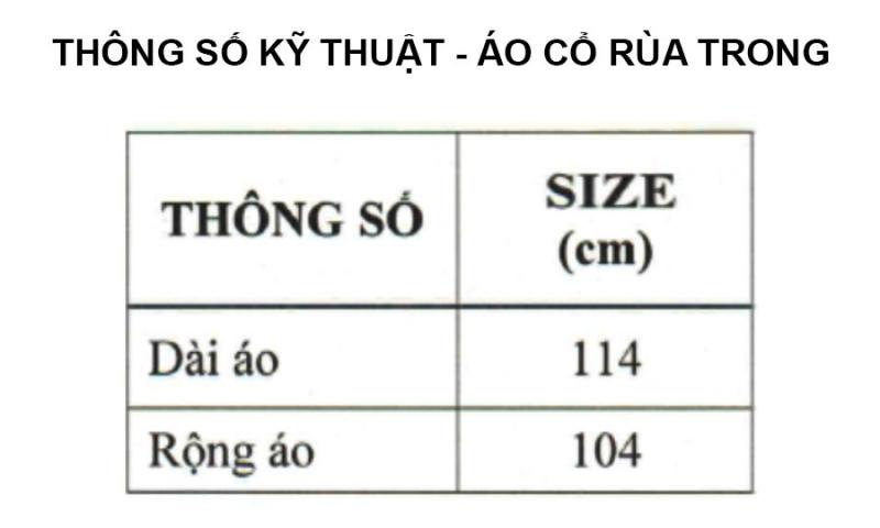 Thông số kỹ thuật áo mưa cổ rùa trong màu