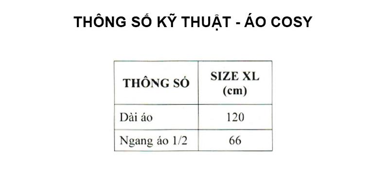 Thông số kỹ thuật áo mưa COSY RANDO