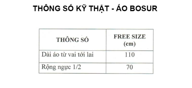 thông số kỹ thuật áo mưa bít sườn Bosur RANDO