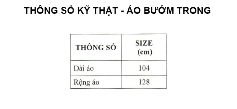 thông số kỹ thuật áo mưa cánh bướm trong màu RANDO