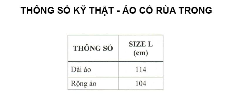 thông số kỹ thuật áo mưa cổ rùa trong màu RANDO