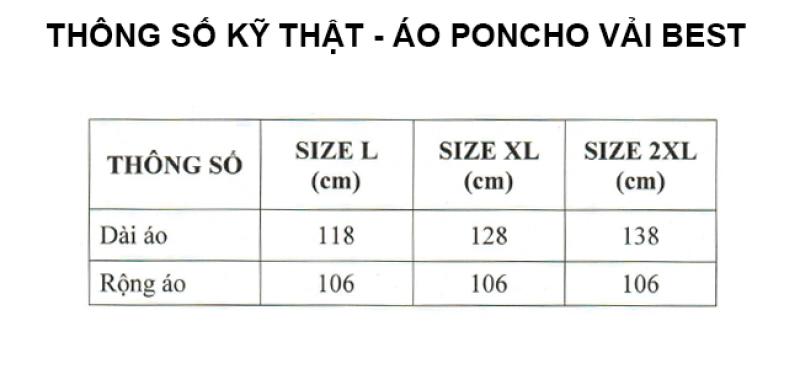 thông số kỹ thuật áo mưa cao cấp  poncho vải best RANDO