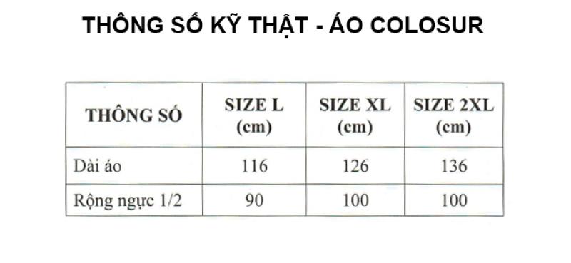 thông số kỹ thuật áo mưa bít sườn Colosur RANDO
