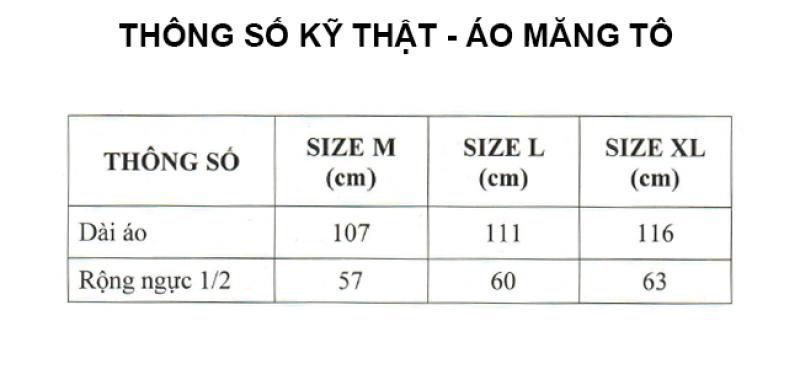 thông số kỹ thuật áo mưa măng tô RANDO