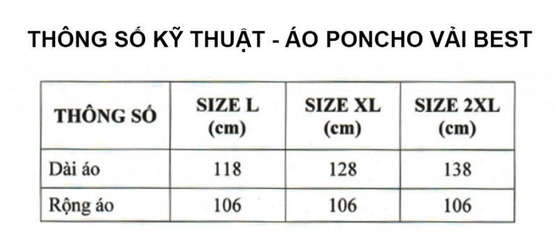 Thông số kỹ thuật áo mưa poncho vải best RANDO