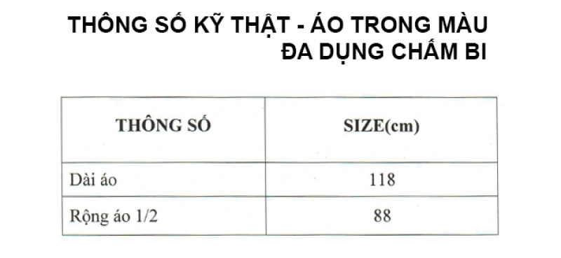 thông số kỹ thuật áo mưa trong màu đa dụng chấm bi RANDO