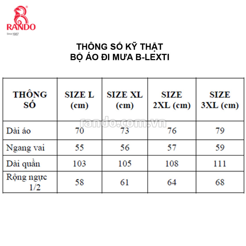 Thông số size bộ áo mưa B-LEXTI