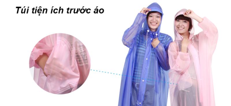 túi trước áo mưa dây kéo trong màu RANDO