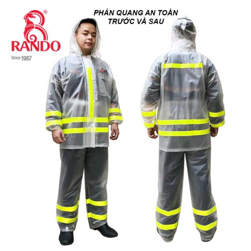 Viền phản quang trước và sau - Bộ áo mưa Trong Màu Phản Quang