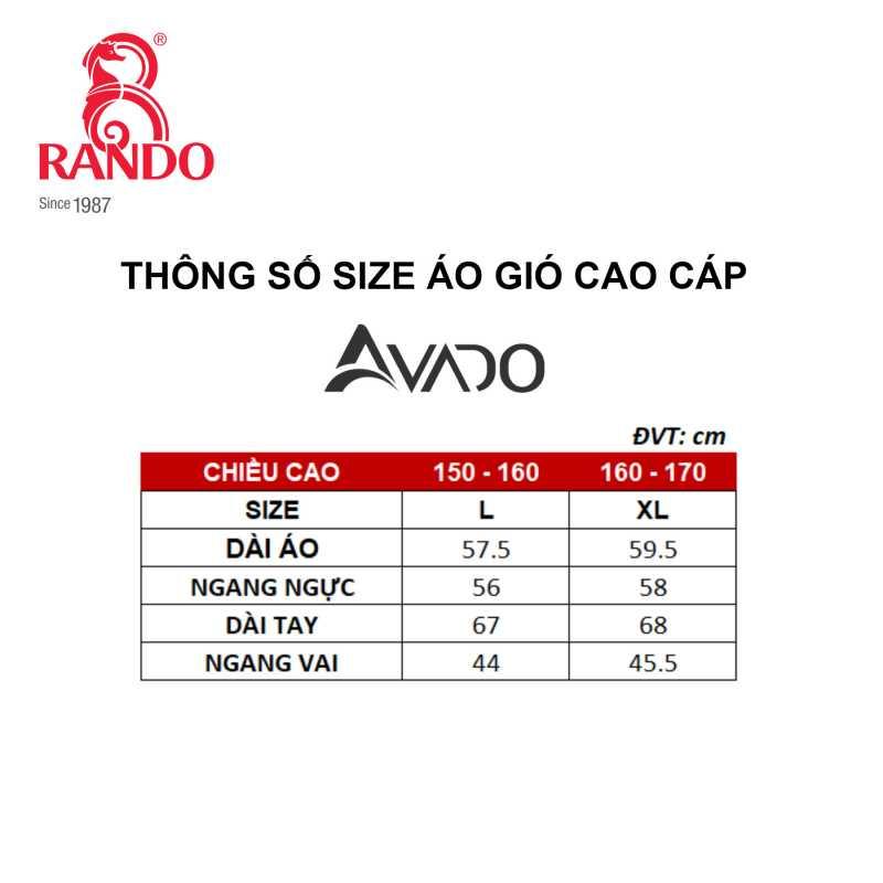 Size áo gió cao cấp nam AVADO - RANDO