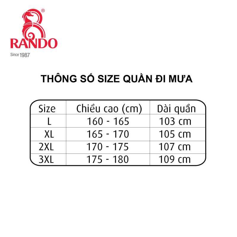 Thông số size quần đi mưa
