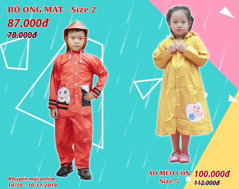 Khuyến mãi tháng 10 áo mưa trẻ em Ong mật và Mèo con RANDO